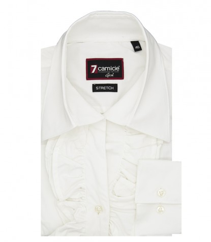 Venice woman shirt with soft collar with rouches White stretch poplin