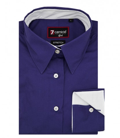 Woman shirt 1 button Italian collar Purple poplin