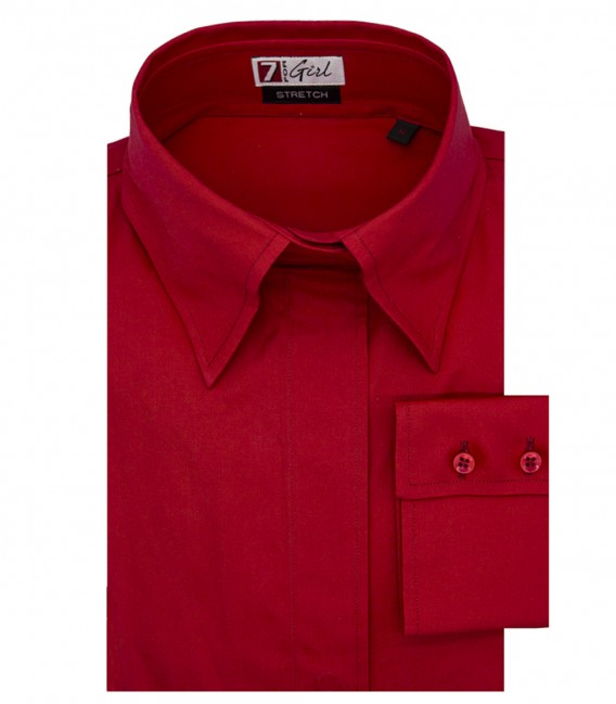 Woman shirt with soft collar without buttons Popeline Red