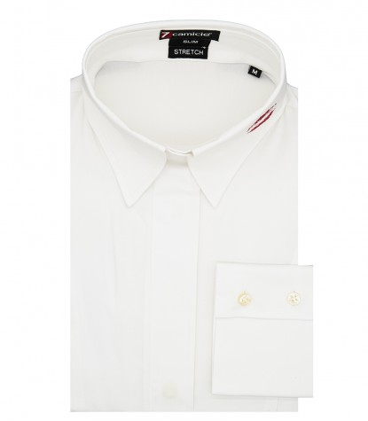 Soft collar woman shirt without buttons Popeline White