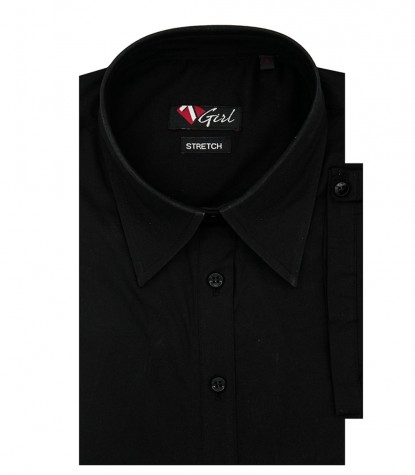 Woman shirt 1 button French stretch Popeline Black