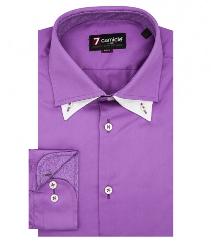 Camicia Uomo 1 Bottone Button Down Doppio Collo Slim Satin Unito Orchidea