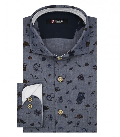 Shirt Firenze Poplin Dark Grey and Red