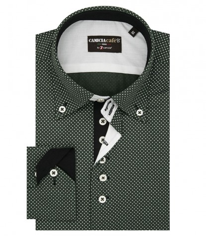 Shirt Roma Cotton Polyester Green and White