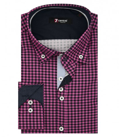 Shirt Leonardo Poplin Fuxia and Blue