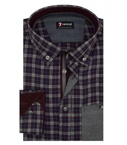 Shirt Leonardo twill BordeauxLight Grey