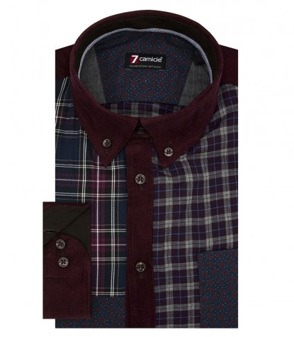 Camicia Leonardo Super oxford Blu Bordeaux