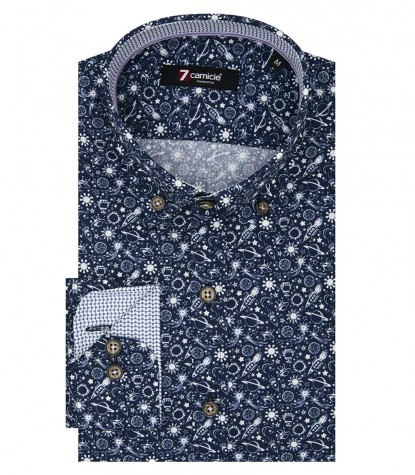 Shirt Leonardo Poplin Blue White
