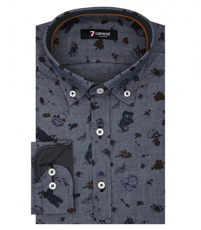 Shirt Leonardo Poplin Dark Grey and Red