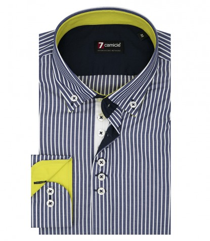Shirt Donatello Poplin Blue White