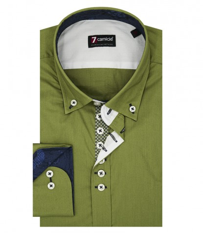 Shirt Donatello stretch poplin Military Green