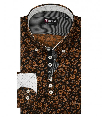 Shirt Donatello Super oxford Black and burnt