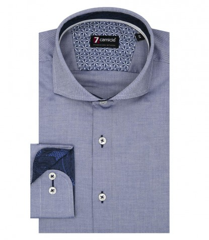 1 Button French Collar Slim Man Shirt Solid Color Oxford Blue