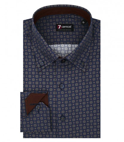 2 Buttons Bdwn Slim Man Shirt Printed Popeline Blue and Dark Orange