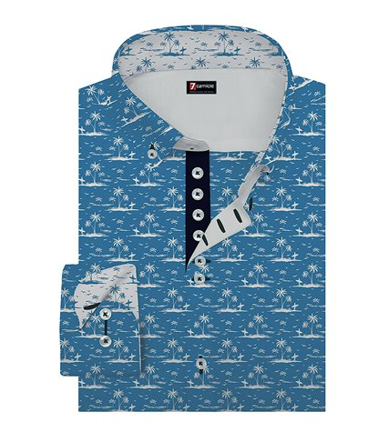 Camicia Uomo 1 Bottoni Button Down Slim Lino Cotone Fantasia Bluette/Bianco