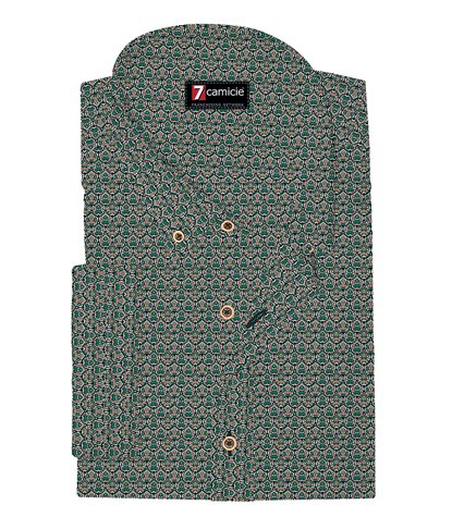 1 Button Bdwn Short Sleeve Slim Man Shirt Cotton Pattern Teal Green Pink
