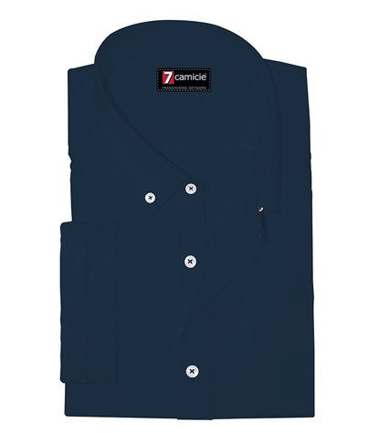Camicia Uomo 1 Bottone Button Down Manica Corta Slim POPELINE STRETCH UNITO Blu