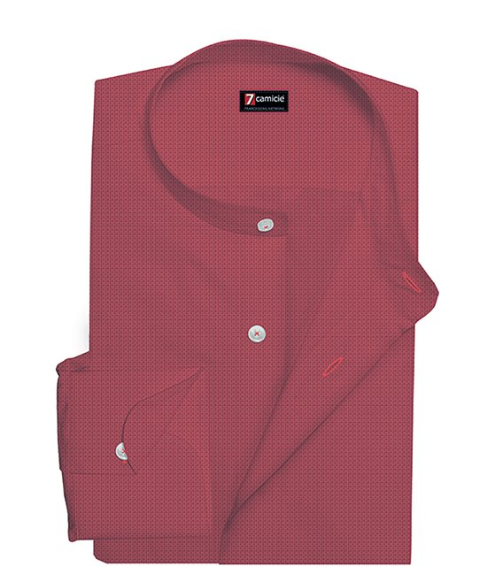 Korean Collar Man Shirt Slim Fit Solid Linen Coral