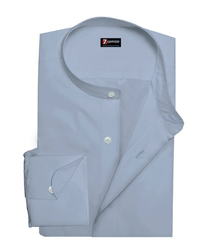 Korean Collar Man Shirt Slim Fit Popeline Stretch Plain Light Blue