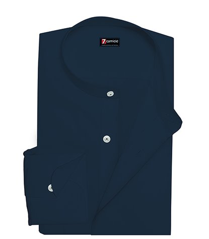 Korean Collar Man Shirt Slim Fit Popeline Stretch Plain Blue