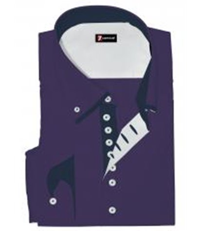 Camicia Uomo 1 Bottone Button Down Doppio Collo Piccolo Slim Popeline Unito Viola