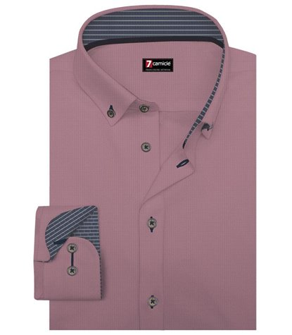 Camicia Uomo 1 Bottone Button Down Slim Super Oxford Unito Bordeaux