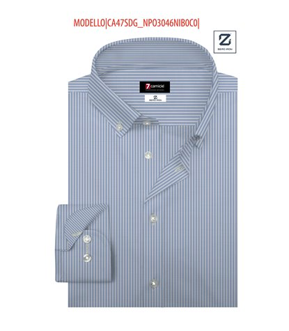 Camicia Uomo 1 Bottone Button Down Slim Popeline No Iron Bianco/Celeste