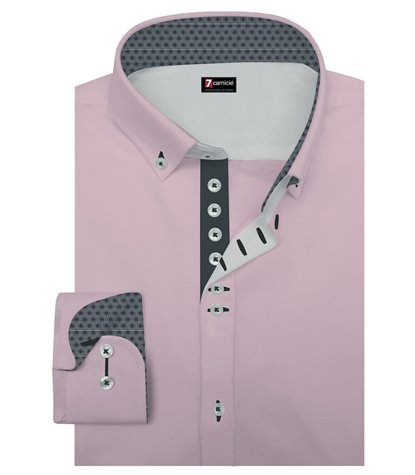 Camicia Uomo 1 Bottoni Button Down Slim Popeline Unito Rosa