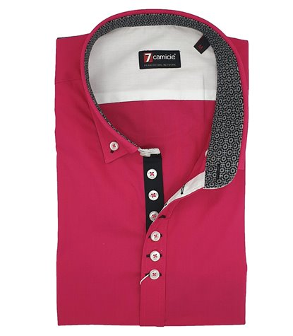 Camicia Uomo 1 Bottoni Button Down Slim Popeline Unito Fucsia