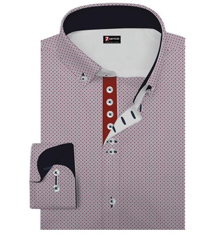 1 Buttons BDW Slim Man Shirt Popeline Pattern White and Red