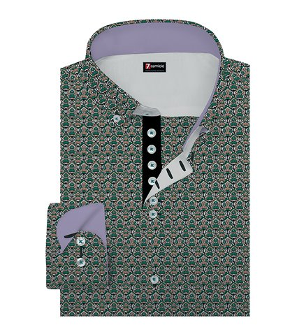 1 Buttons BDW Slim Man Shirt Cotton Pattern Teal Green Pink