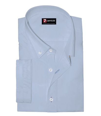 Camicia Uomo 1 Bottone Button Down Manica Corta Slim POPELINE STRETCH UNITO Celeste