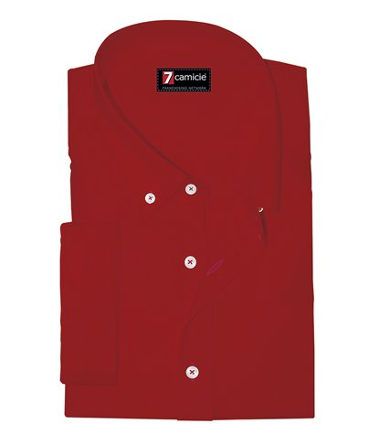 Camicia Uomo 1 Bottone Button Down Manica Corta Slim POPELINE STRETCH UNITO Rosso
