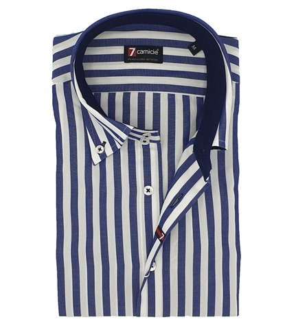 Camicia Uomo 2 Bottoni Button Down Slim Cotone Riga Larga Bianco e Blu