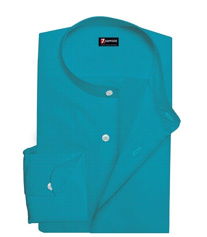Korean Collar Man Shirt Slim Fit Solid Linen Light Turquoise