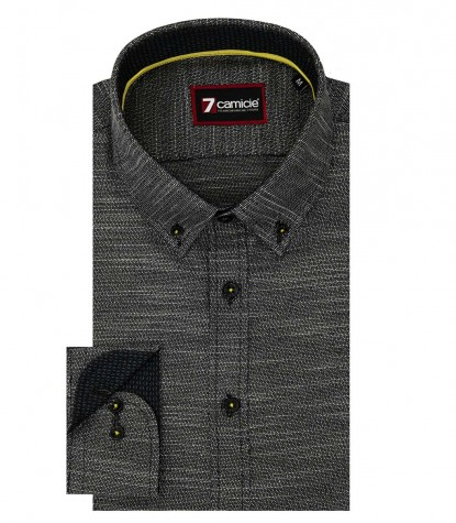 Shirt Leonardo Weaved Black White