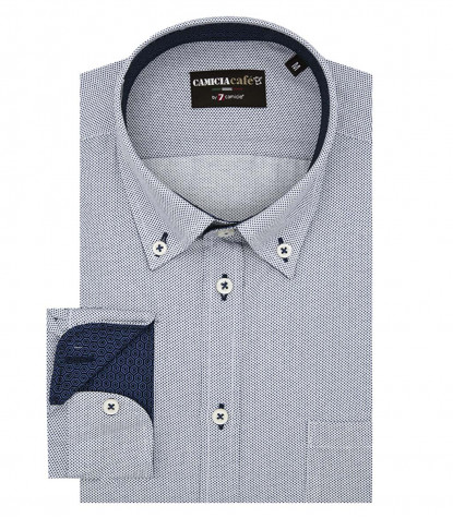Shirt Leonardo Cotton Polyester White and Blue