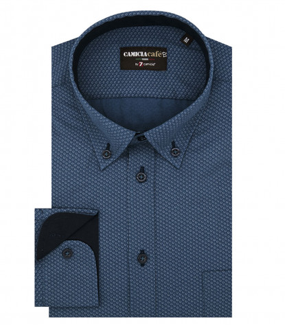 Shirt Leonardo Cotton Polyester Petrol Blue