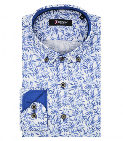 Shirt Leonardo Poplin White Light Blue