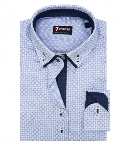 Shirt Linda Super oxford White and Medium Blue
