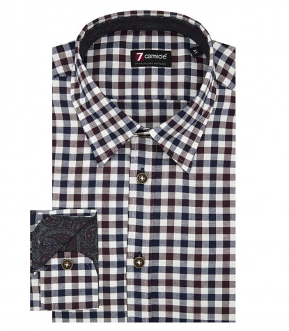Shirt Leonardo Oxford Dk Red Blue