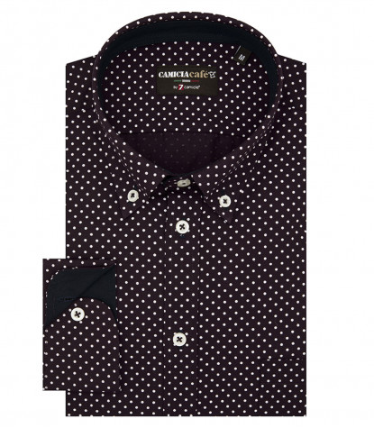 Shirt Leonardo Cotton Polyester BordeauxWhite
