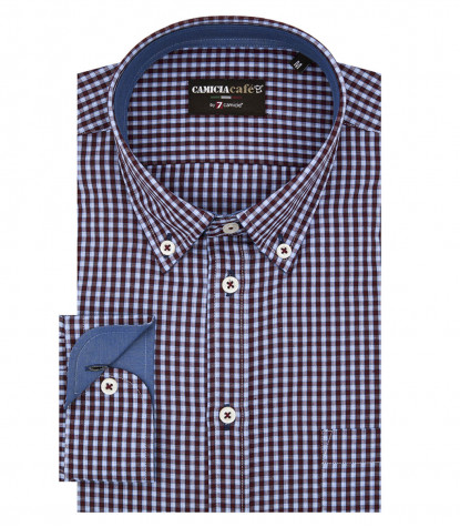 Shirt Leonardo Cotton Polyester Light Blue and Bordeaux