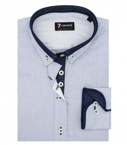 Camicia Leonardo Popeline 1bottone Button down Quadri Bianco