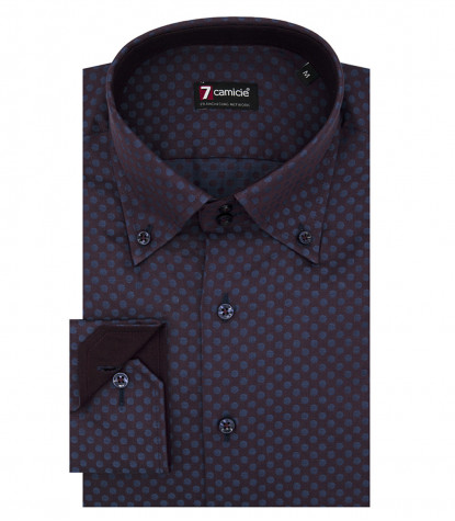 Camicia Uomo 2 Bottoni Button Down Slim Jacquard Fantasia Bordeaux/Blu
