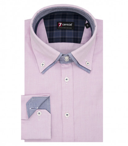 Camicia Uomo 2Bottoni Button Down Doppio Collo Slim Super Oxford Unito Rosa