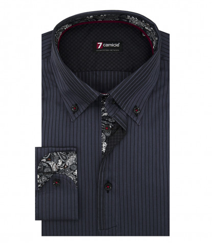 Shirt Leonardo Satin Dark Grey Black