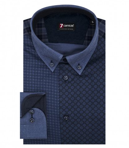 Camicia Uomo 1 Bottone Button Down Slim Superoxford Stampato Blu Blu Avion