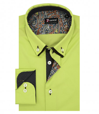 Camicia Uomo Slim 1 Bottone Button Down Doppio Collo POPELINE STRETCH UNITO Verde