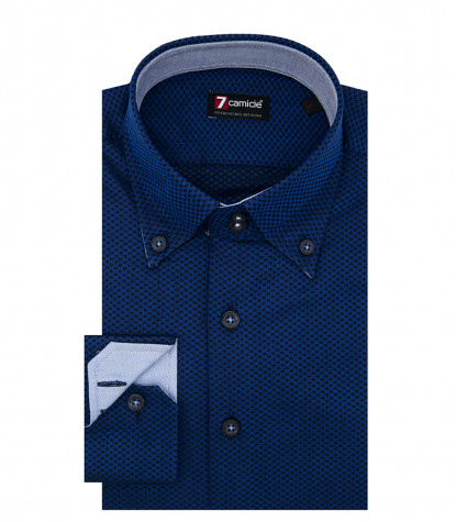 Camicia Uomo 2 Bottoni Button Down Slim Jacquard Fantasia Inchiostro e Blu
